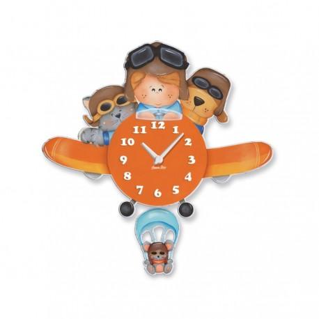 Orologio a Pendolo da Parete Aviatore in Legno per Bimbi - Aracne